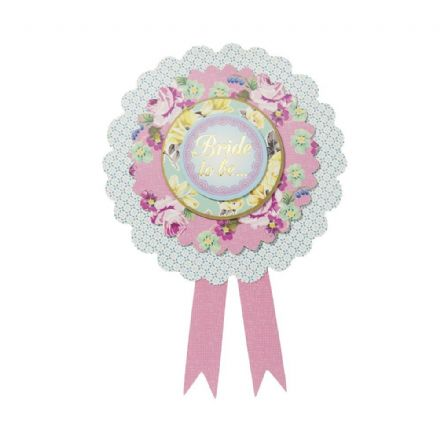 Pretty Vintage Floral Hen Party Bride To Be Rosette
